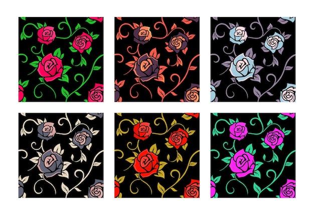 Coleção de padrões sem emenda com rosas