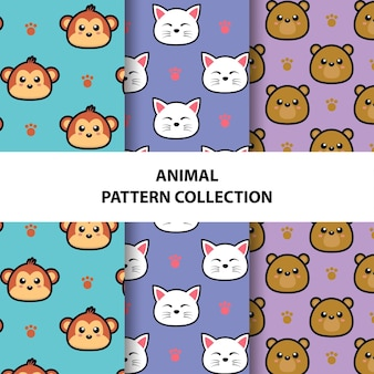 Coleção de padrões sem emenda de animais fofos