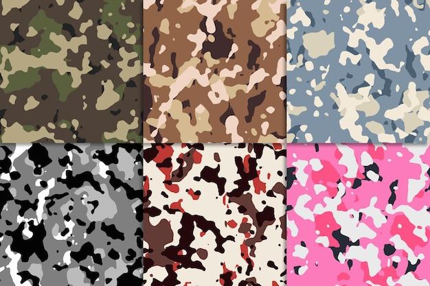 Coleção de padrões sem emenda de camuflagem abstrata