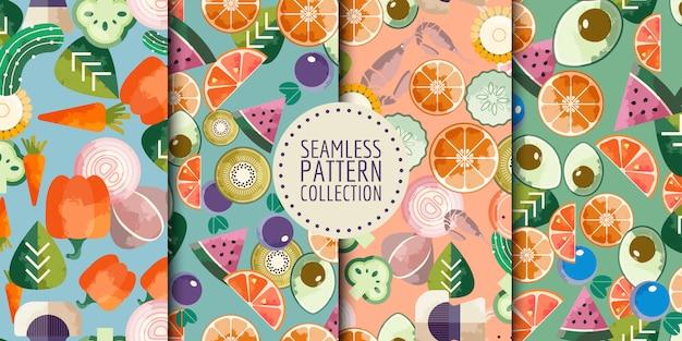 Coleção de padrões sem emenda de comida