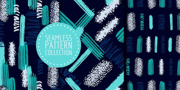Coleção de padrões sem emenda de formas abstratas desenho vetorial para decoração de interiores de tecido de papel