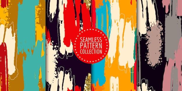 Coleção de padrões sem emenda de formas abstratas desenho vetorial para decoração de interiores e capa de tecido de papel