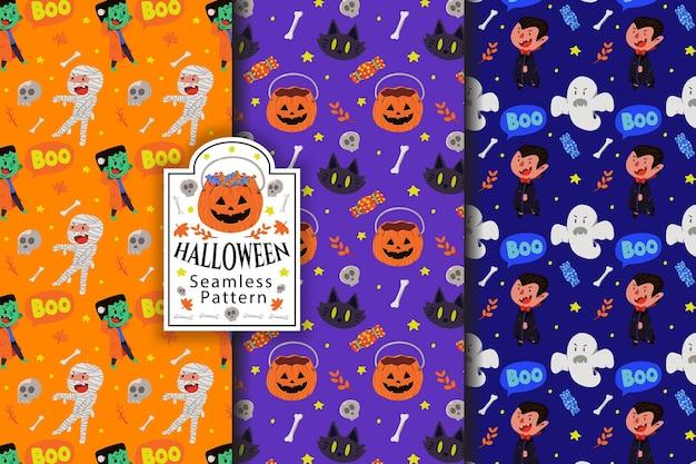 Coleção de padrões sem emenda de halloween com múmia