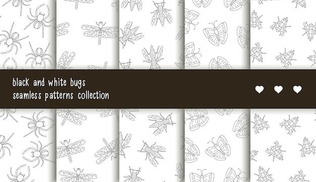 Coleção de padrões sem emenda de insetos preto e brancos.