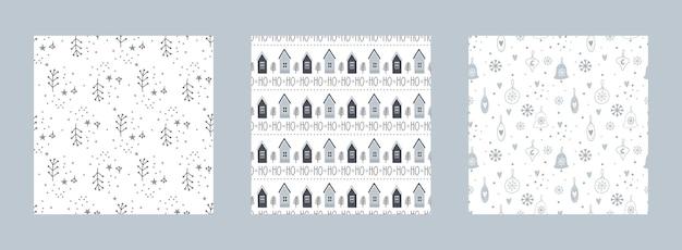 Coleção de padrões sem emenda de natal e ano novo com elementos de inverno