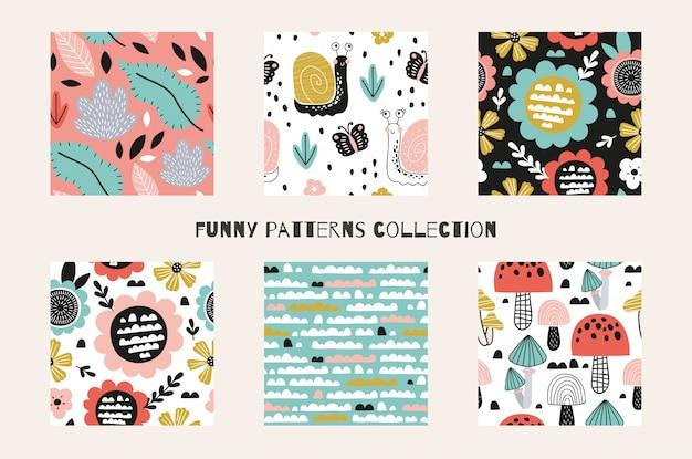 Coleção de padrões sem emenda engraçado dos desenhos animados abstrato primavera e verão. ilustrações de design de superfície de mão desenhada.