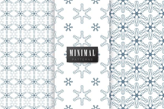 Coleção de padrões sem emenda estilo minimalista cor azul e branca