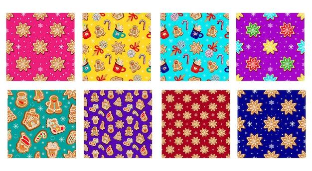 Coleção de padrões sem emenda festivos de natal de doces tradicionais de natal