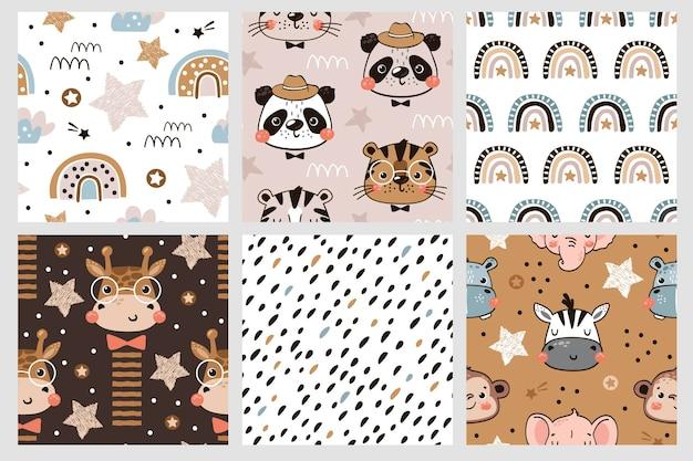 Coleção de padrões sem emenda para fundos de crianças com rostos de animais e arco-íris de estrelas