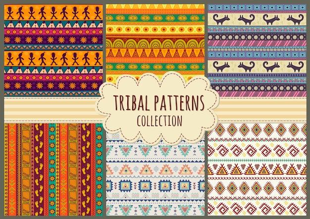 Coleção de padrões sem emenda tribal colorida