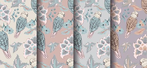 Coleção de padrões vintage de damasco