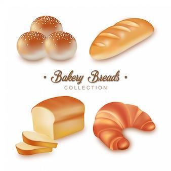 Coleção de pães de padaria