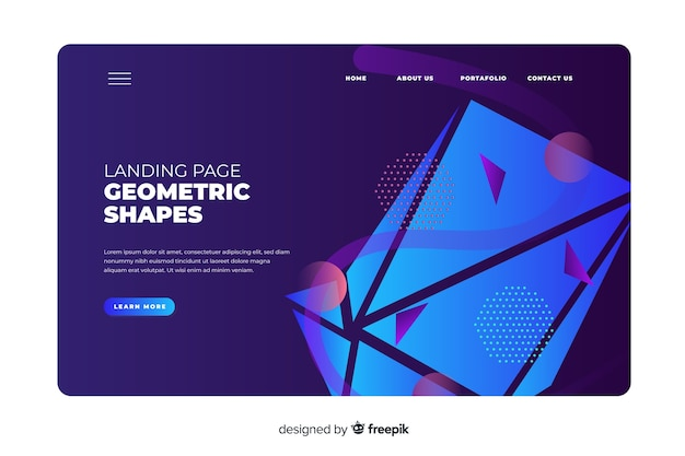 Coleção de páginas de destino de formas geométricas