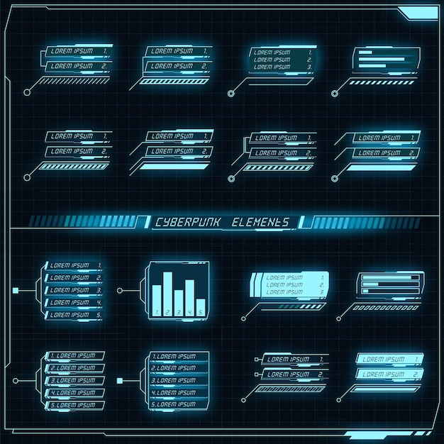 Coleção de painel futurista de scifi de elementos de hud gui vr ui design cyberpunk neon brilho estilo retro