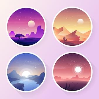 Coleção de paisagem gradiente colorida