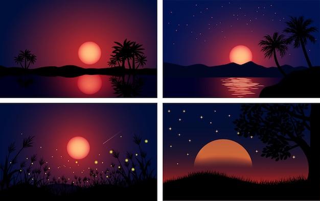 Coleção de paisagem noturna minimalista com luar