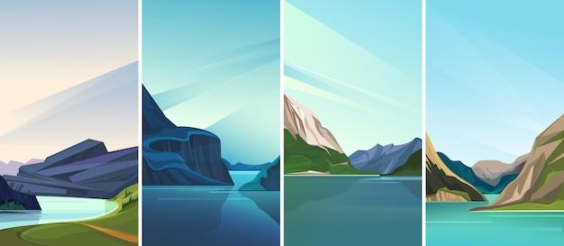 Coleção de paisagens de fiordes