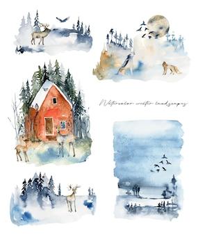 Coleção de paisagens de inverno em aquarela com ilustração isolada de animais da floresta.