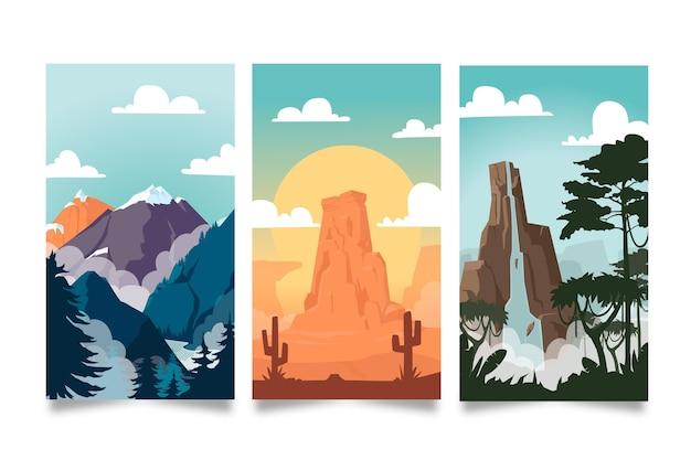Coleção de paisagens diferentes