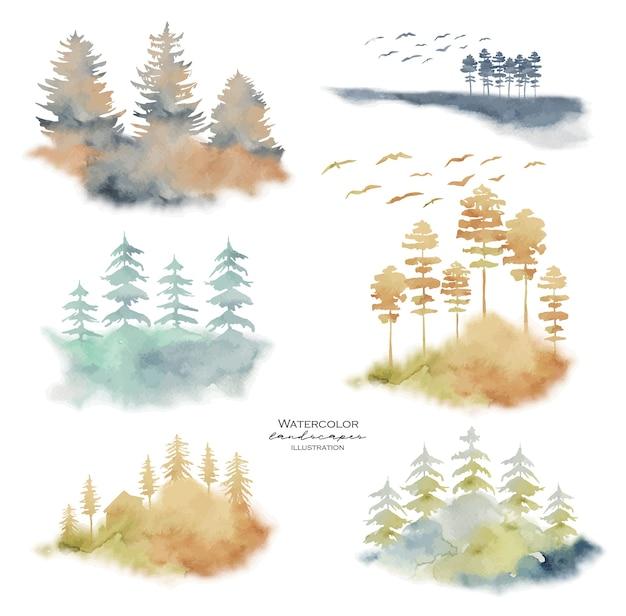Coleção de paisagens em aquarela com coníferas nebulosas, pinheiros e abetos