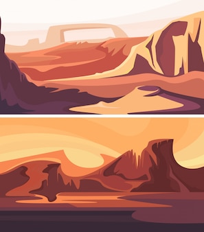 Coleção de paisagens marcianas. belos cenários espaciais.