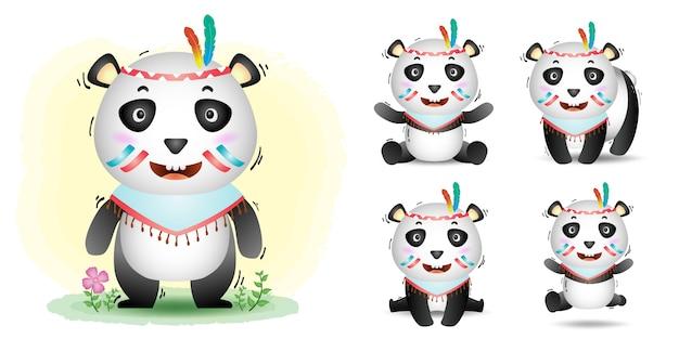 Coleção de panda bonito com traje apache