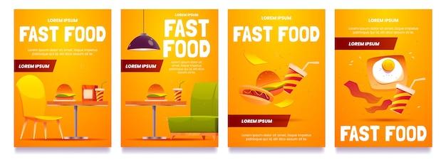 Coleção de panfletos de fast food de desenhos animados