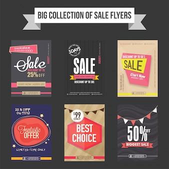 Coleção de panfletos, modelos e banners de venda
