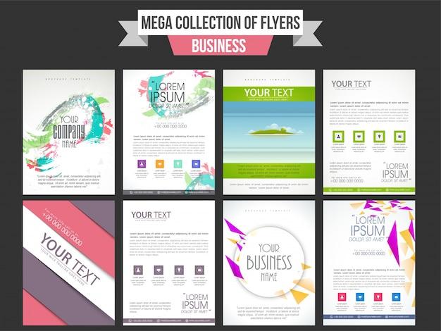 Coleção de panfletos profissionais criativos ou design de modelos para seus relatórios de negócios e apresentação