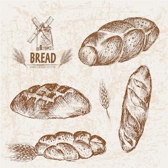 Coleção de pão desenhada a mão