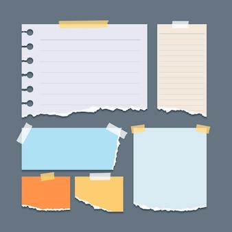 Coleção de papéis rasgados de diferentes formas com fita adesiva