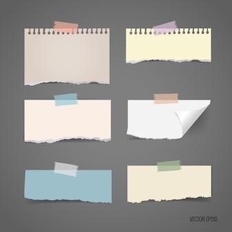 Coleção de papéis rasgados