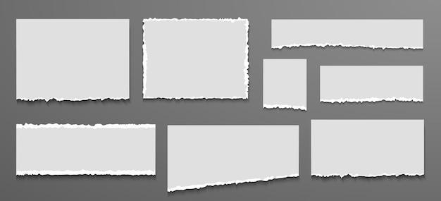 Coleção de papel de caderno rasgado