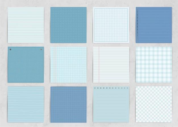 Coleção de papel de nota azul