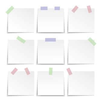 Coleção de papel de nota, lembrete. ilustração