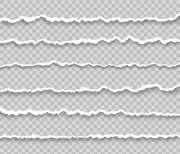 Coleção de papel rasgado branco pedaço de tira de papel horizontal rasgado