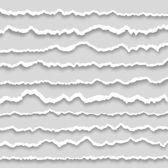 Coleção de papel rasgado branco
