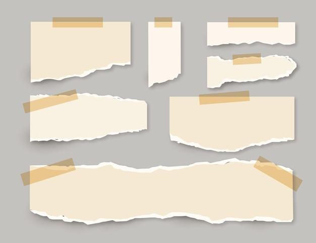 Coleção de papel rasgado com conceito de fita