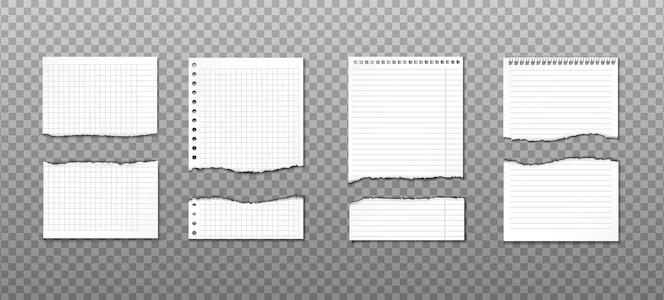 Coleção de papel rasgado com cortes diferentes. lembrete de informação