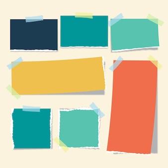 Coleção de papel rasgado com tema de fita