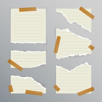 Coleção de papel rasgado em diferentes formas