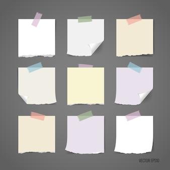 Coleção de papel rasgado multicolorido