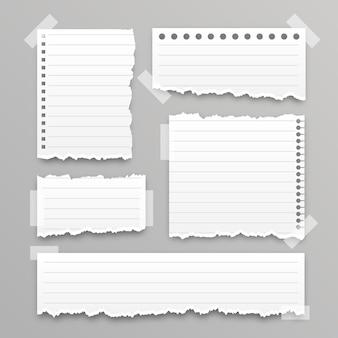 Coleção de papel rasgado realista