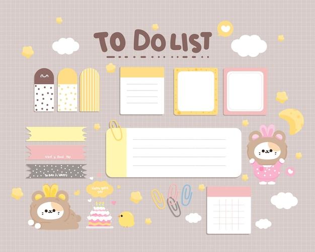 Coleção de papelaria com elementos de planejador diário fofa