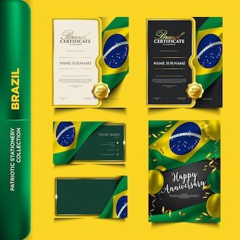 Coleção de papelaria patriótica do brasil