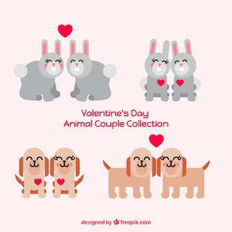 Coleção de pares de cães e coelhos para namorados