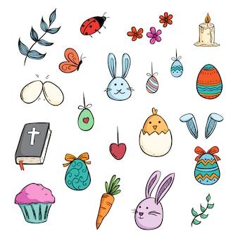 Coleção de páscoa colorida com estilo bonito doodle