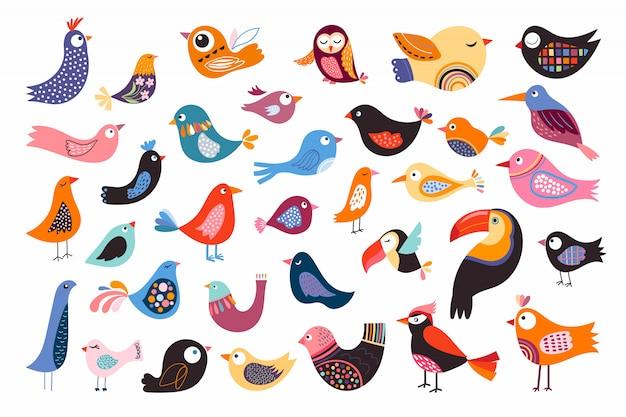 Coleção de pássaros com diferentes elementos decorativos abstratos, isolados no branco