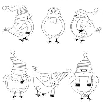 Coleção de pássaros de Natal para colorir livro
