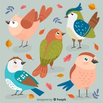 Coleção de pássaros de outono de mão desenhada